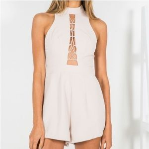 White Fox Boutique Nude Playsuit